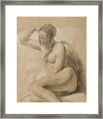 Seated Female Nude Framed Print by Sir John Everett Millais