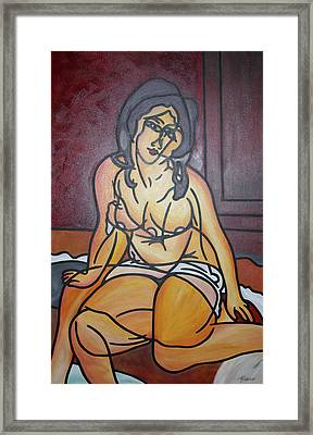 Seated Nu Framed Print by Guadalupe Herrera