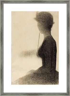Seated Woman With A Parasol. Study For La Grande Jatte Framed Print by Georges Seurat