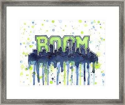 Seattle 12th Man Legion Of Boom Watercolor Framed Print by Olga Shvartsur