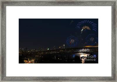 Seattle Fireworks Framed Print by Mike Dawson