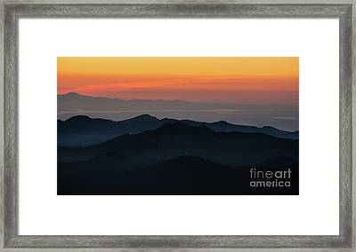 Seattle Puget Sound And The Olympics Sunset Layers Landscape Framed Print by Mike Reid
