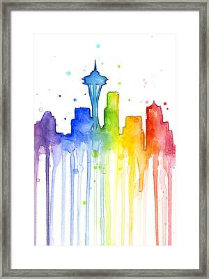 Seattle Rainbow Watercolor Framed Print by Olga Shvartsur
