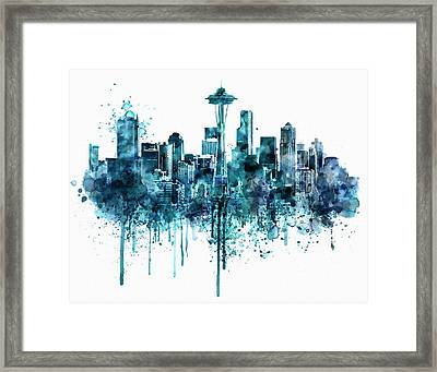 Seattle Skyline Monochrome Watercolor Framed Print by Marian Voicu