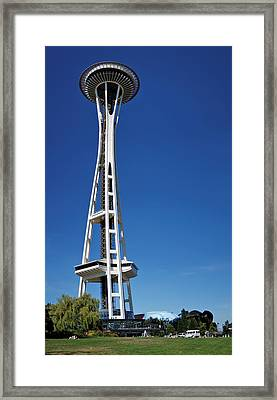 Seattle Space Needle Framed Print by Adam Romanowicz