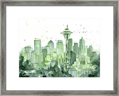 Seattle Watercolor Framed Print by Olga Shvartsur