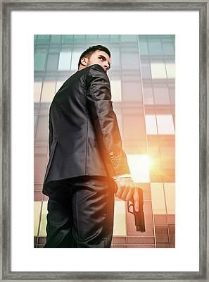 Secret Agent 5 Framed Print by Carlos Caetano
