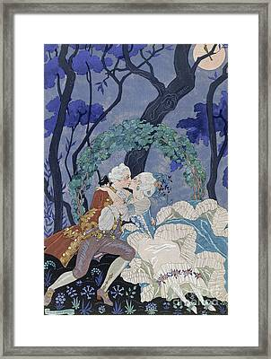 Secret Kiss Framed Print by Georges Barbier
