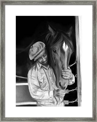 Secretariat And His Groom Framed Print by Becky Herrera