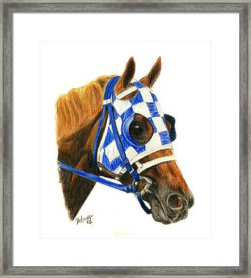 Secretariat With Blinkers Framed Print by Pat DeLong