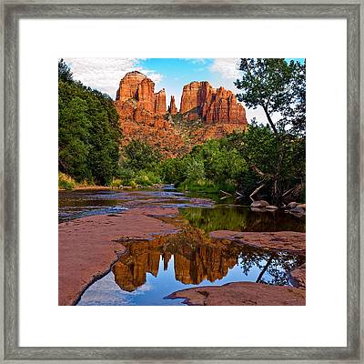 Sedona Cathedral Rock Reflections Framed Print by Dave Dilli