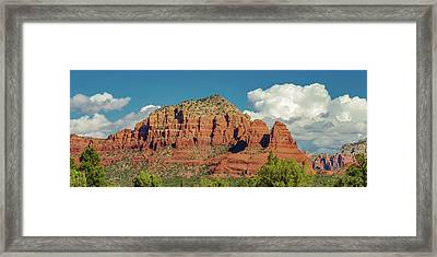 Sedona, Rocks And Clouds Framed Print by Bill Gallagher
