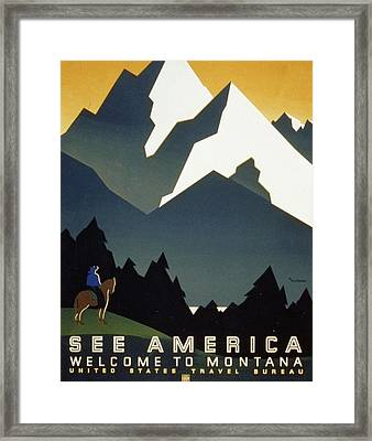 See America Welcome To Montana Framed Print by M Weitzman