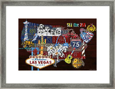 See The Usa Vintage Travel Map Recycled License Plate Art Of American Landmarks Framed Print by Design Turnpike