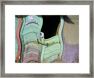 See-through Green And Red Doors Framed Print by Lenore Senior
