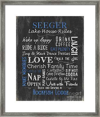 Seeger Lake House Rules Framed Print by Debbie DeWitt