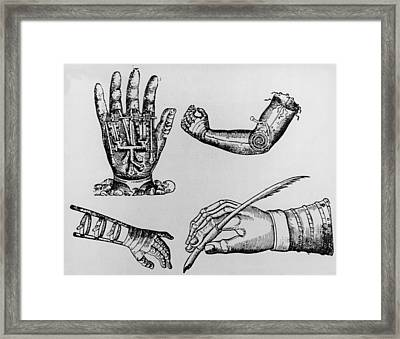 Selection Of 16th Century Artificial Arms & Hands. Framed Print by Dr Jeremy Burgess.