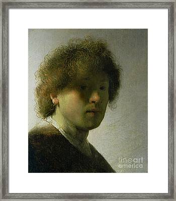 Self Portrait As A Young Man Framed Print by Rembrandt