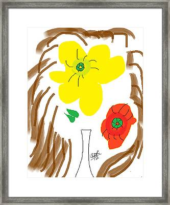 Self Portrait As Two Roses In A Vase Framed Print by Anita Dale Livaditis