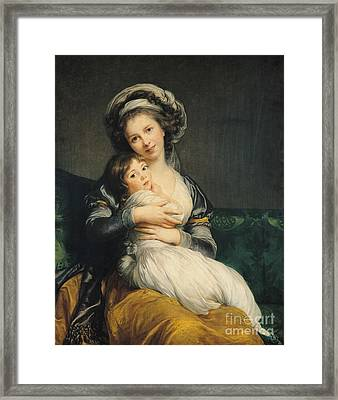 Self Portrait In A Turban With Her Child Framed Print by Elisabeth Louise Vigee Lebrun