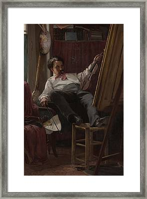 Self - Portrait Of Artist In His Studio Framed Print by Mountain Dreams