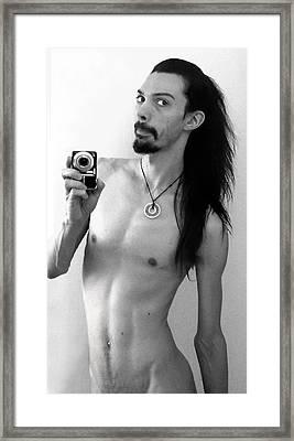 Self Portrait The Mirror Bw Framed Print by Shawn Dall