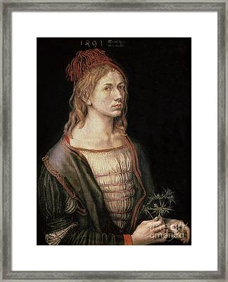 Self Portrait With A Thistle Framed Print by Albrecht Durer