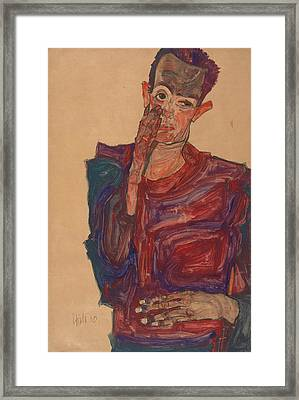 Self-portrait With Eyelid Pulled Down Framed Print by Egon Schiele