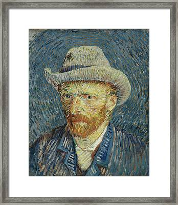 Self-portrait With Grey Felt Hat Framed Print by Vincent van Gogh