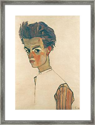 Self-portrait With Striped Shirt Framed Print by Egon Schiele