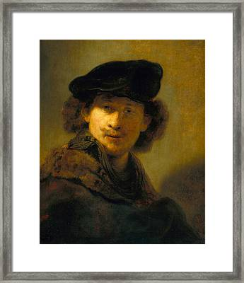 Self-portrait With Velvet Beret Framed Print by Rembrandt