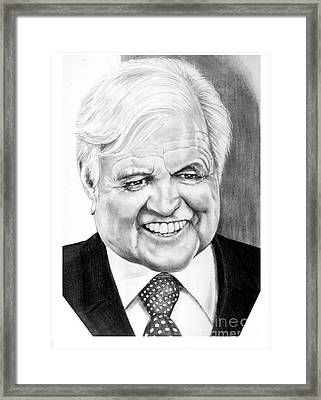 Senator Edward Kennedy Framed Print by Murphy Elliott