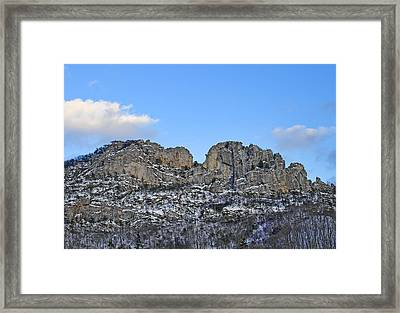 Seneca Rocks West Virginia During Winter Framed Print by Brendan Reals