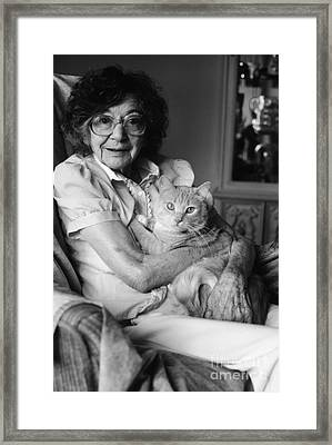 Senior Woman With Cat, C.1980s Framed Print by H. Armstrong Roberts/ClassicStock