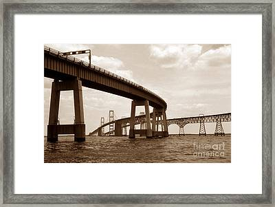 Sepia Chesapeake Bay Bridge Framed Print by Skip Willits