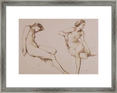 Sepia Drawing Of Nude Woman Framed Print by William Mulready