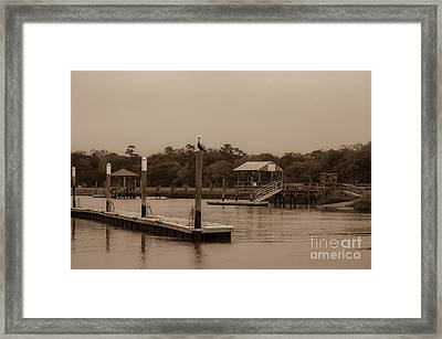 Sepia Of Shem Creek Framed Print by Dale Powell