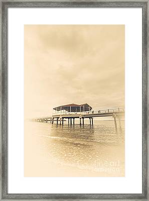 Sepia Toned Image Of A Vintage Marine Pier Framed Print by Jorgo Photography - Wall Art Gallery