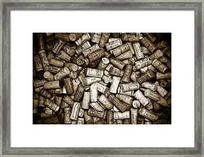 Sepia Wine Corks Framed Print by Frank Tschakert