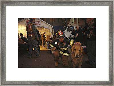 September 11th Rescue Workers Receive Framed Print by Ira Block
