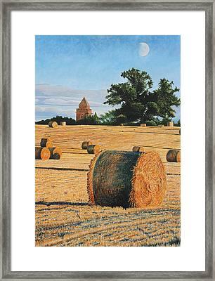 September Corn Moonrise Framed Print by Adrian Jones