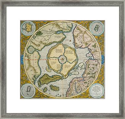 Septentrionalium Terrarum Descriptio Framed Print by Gerardus Mercator