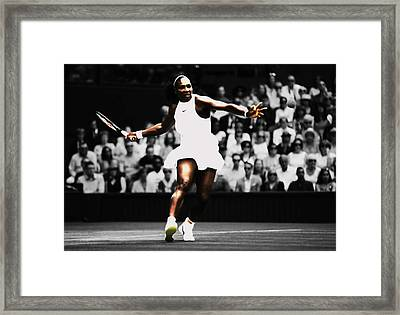 Serena Williams Defining Moment Framed Print by Brian Reaves