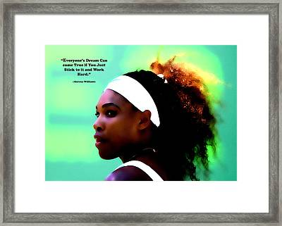 Serena Williams Motivational Quote 1a Framed Print by Brian Reaves