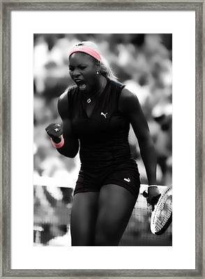 Serena Williams On Fire Framed Print by Brian Reaves