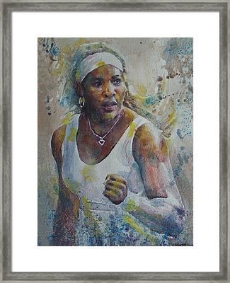 Serena Williams - Portrait 5 Framed Print by Baresh Kebar - Kibar