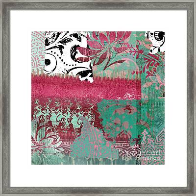 Serendipity Damask Batik I Framed Print by Mindy Sommers