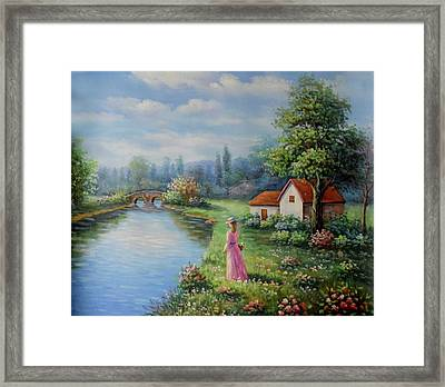 Serenity In Pink Framed Print by Studio Artist