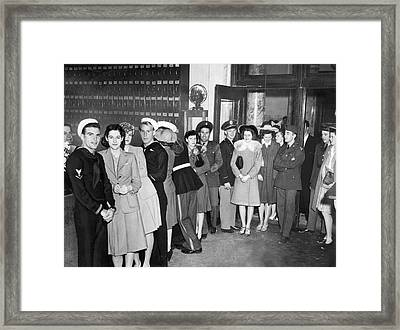 Servicemen Get Married In Reno Framed Print by Underwood Archives
