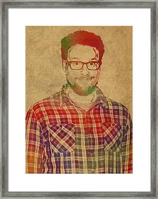 Seth Rogen Comedian Actor Watercolor Portrait On Canvas Framed Print by Design Turnpike